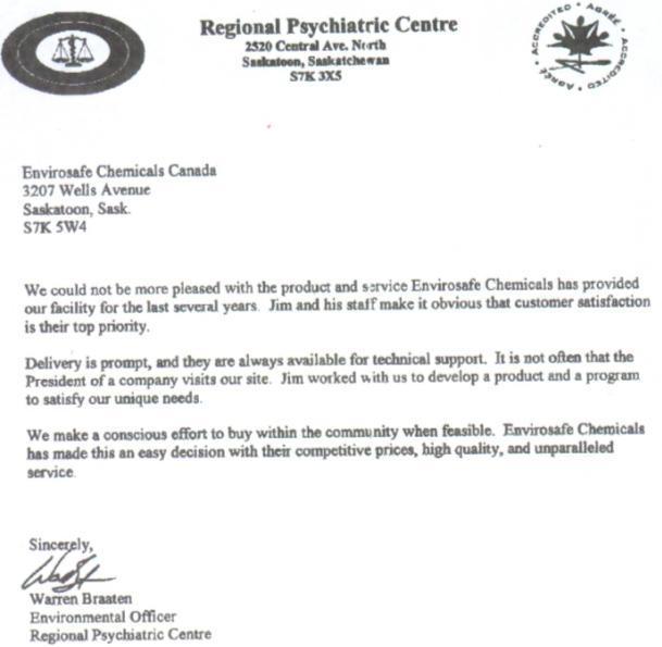 Envirosafe Chemicals Canada Inc Testimonials